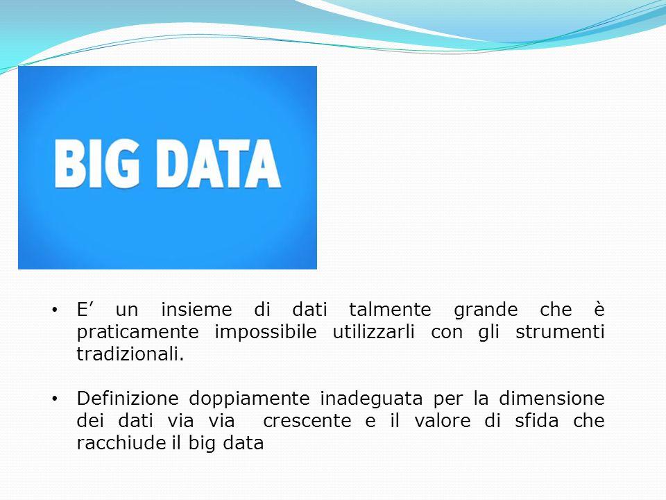 E un insieme di dati talmente grande che è praticamente impossibile utilizzarli con gli strumenti tradizionali. Definizione doppiamente inadeguata per