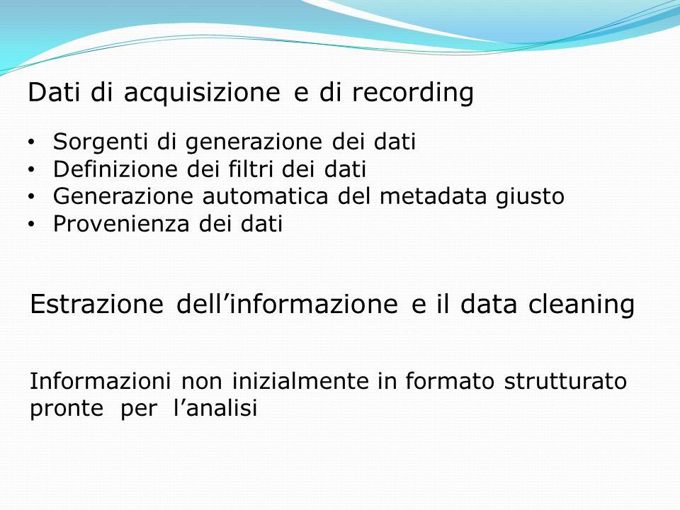 Dati di acquisizione e di recording Sorgenti di generazione dei dati Definizione dei filtri dei dati Generazione automatica del metadata giusto Proven