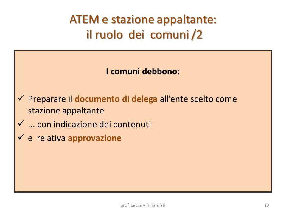 ATEM e stazione appaltante: il ruolo dei comuni /2 I comuni debbono: Preparare il documento di delega allente scelto come stazione appaltante... con i