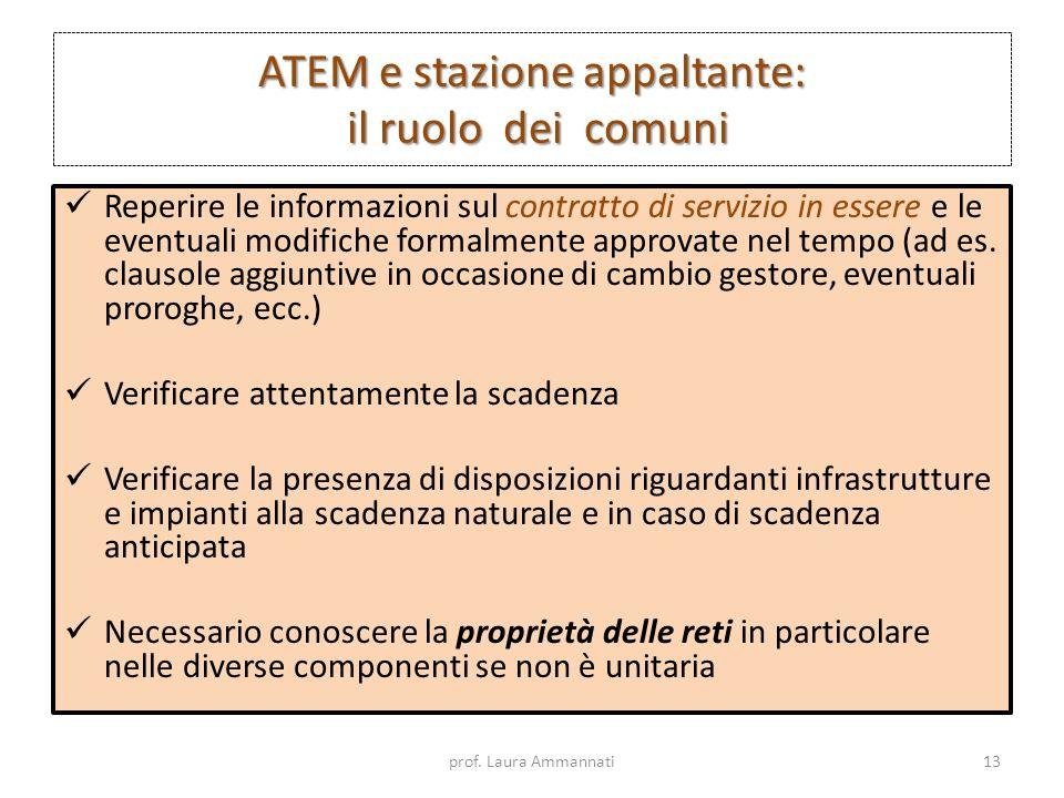 ATEM e stazione appaltante: il ruolo dei comuni Reperire le informazioni sul contratto di servizio in essere e le eventuali modifiche formalmente appr