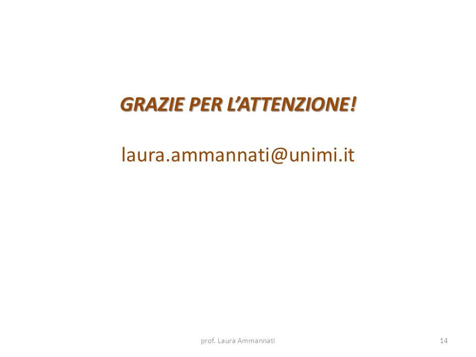prof. Laura Ammannati14 GRAZIE PER LATTENZIONE! laura.ammannati@unimi.it