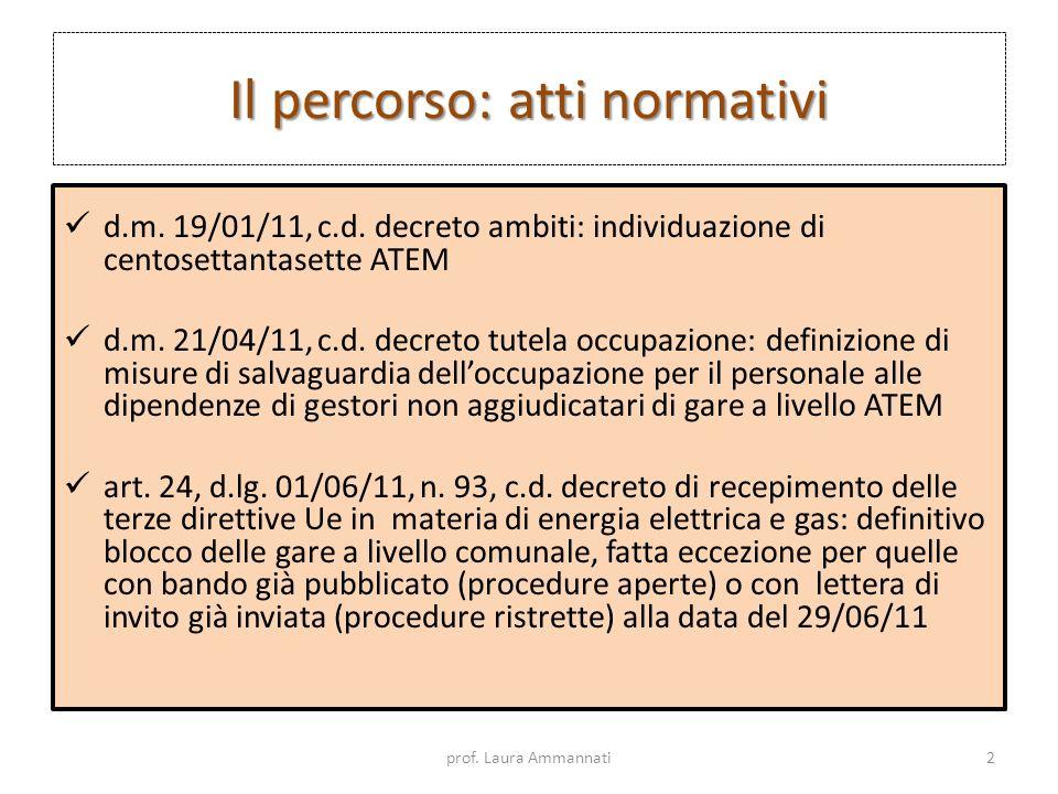 Il percorso: atti normativi d.m. 19/01/11, c.d. decreto ambiti: individuazione di centosettantasette ATEM d.m. 21/04/11, c.d. decreto tutela occupazio