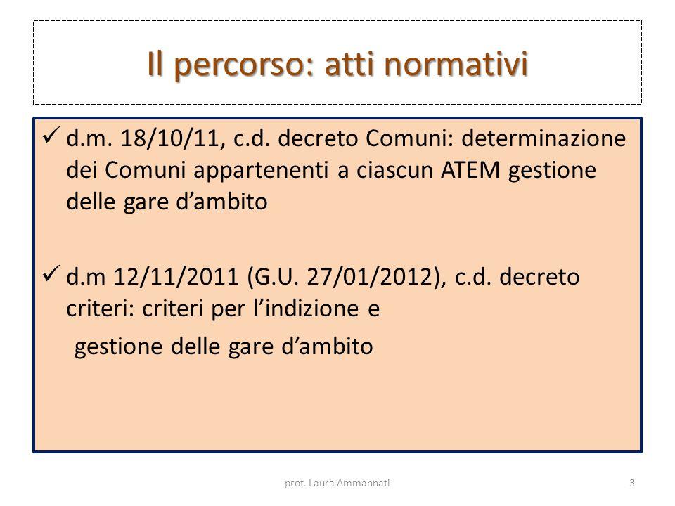 Il percorso: atti normativi d.m. 18/10/11, c.d. decreto Comuni: determinazione dei Comuni appartenenti a ciascun ATEM gestione delle gare dambito d.m