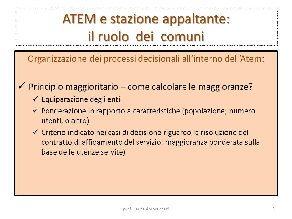 ATEM e stazione appaltante: il ruolo dei comuni Organizzazione dei processi decisionali allinterno dellAtem: Principio maggioritario – come calcolare