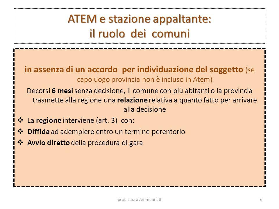 ATEM e stazione appaltante: il ruolo dei comuni In caso di mancata individuazione della stazione appaltante In prima applicazione Se i comuni concedenti trascorsi 7 mesi da termine indicato in All.