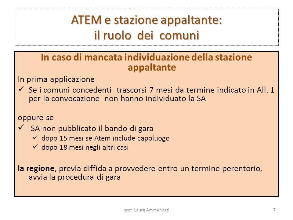 ATEM e stazione appaltante: il ruolo dei comuni In caso di mancata individuazione della stazione appaltante In prima applicazione Se i comuni conceden