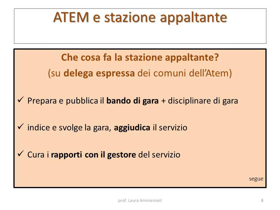 ATEM e stazione appaltante Che cosa fa la stazione appaltante? (su delega espressa dei comuni dellAtem) Prepara e pubblica il bando di gara + discipli