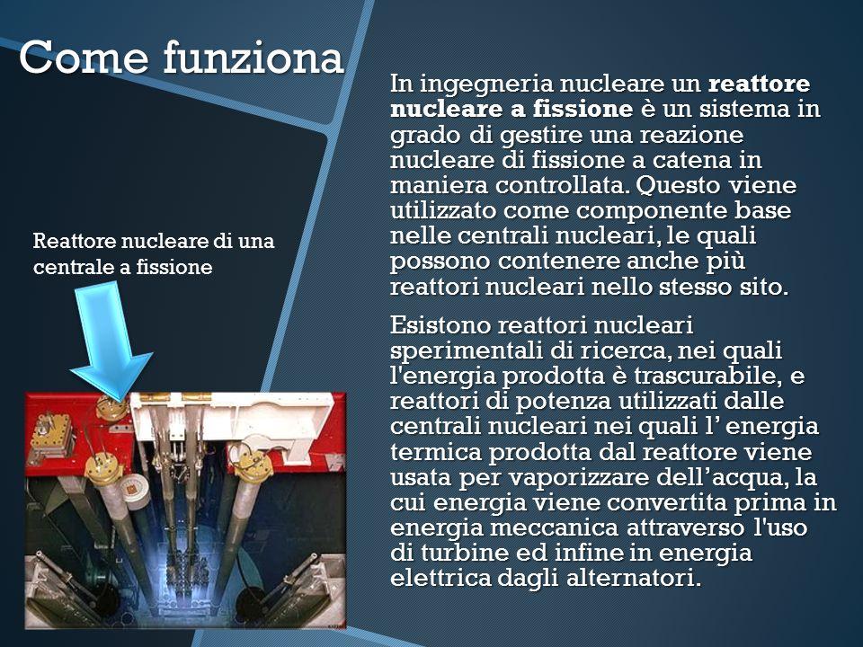Come funziona Reattore nucleare di una centrale a fissione In ingegneria nucleare un reattore nucleare a fissione è un sistema in grado di gestire una