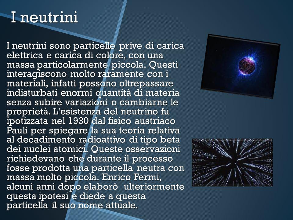 I neutrini I neutrini sono particelle prive di carica elettrica e carica di colore, con una massa particolarmente piccola. Questi interagiscono molto