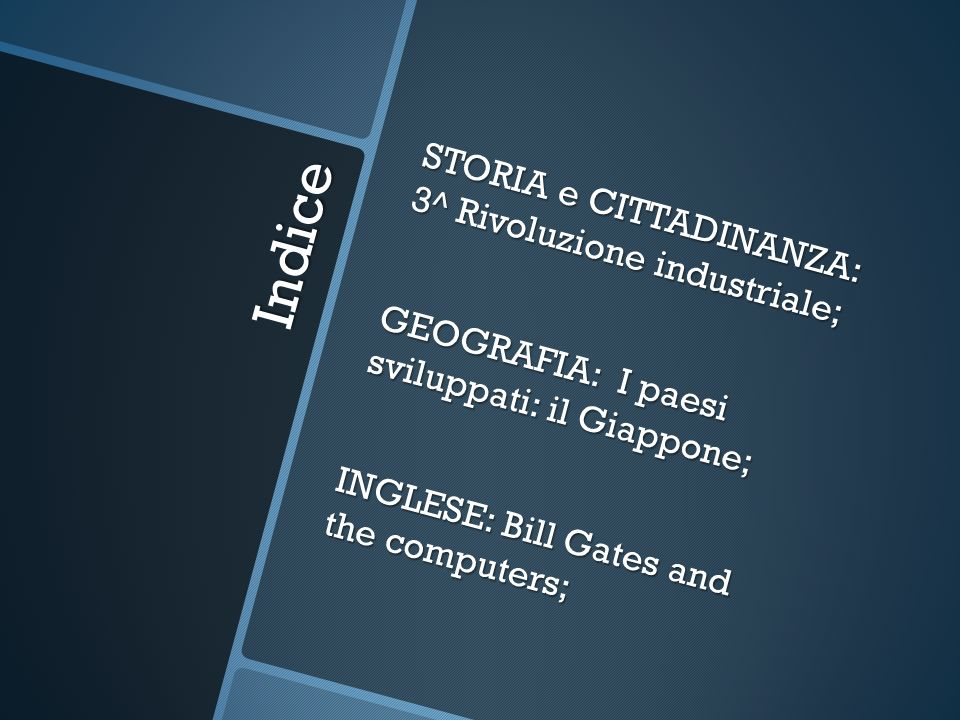Indice STORIA e CITTADINANZA: 3^ Rivoluzione industriale; GEOGRAFIA: I paesi sviluppati: il Giappone; INGLESE: Bill Gates and the computers;