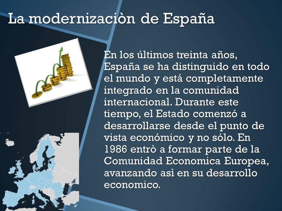 La modernizaciòn de España En los últimos treinta años, España se ha distinguido en todo el mundo y está completamente integrado en la comunidad inter