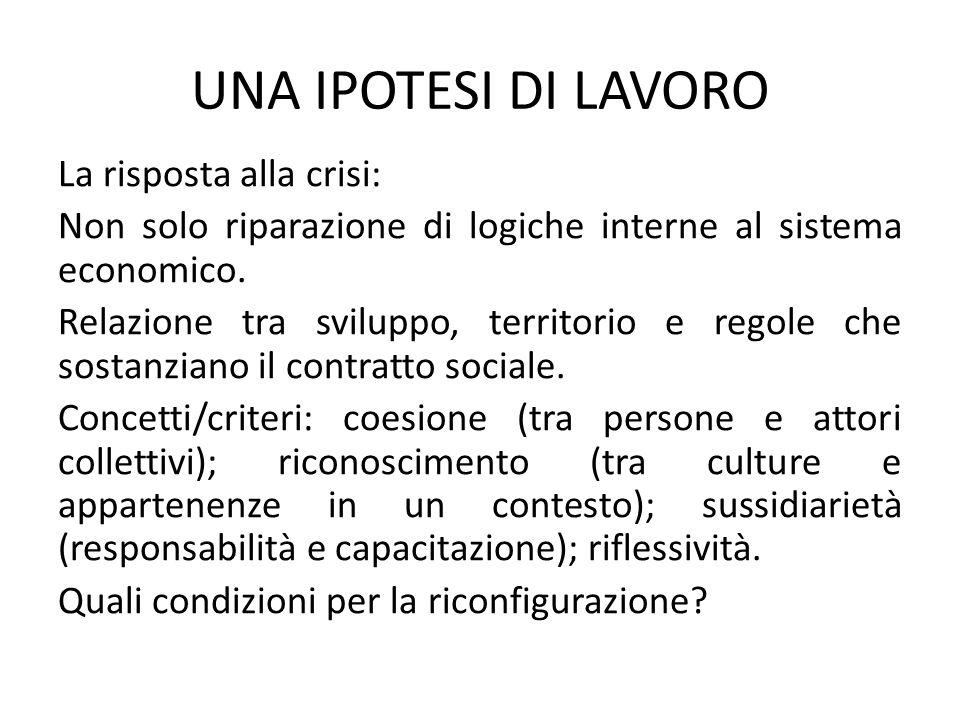 UNA IPOTESI DI LAVORO La risposta alla crisi: Non solo riparazione di logiche interne al sistema economico.