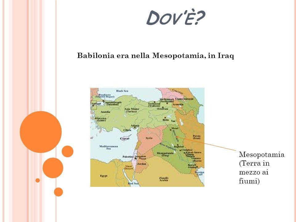 D OV È ? Babilonia era nella Mesopotamia, in Iraq Mesopotamia (Terra in mezzo ai fiumi)