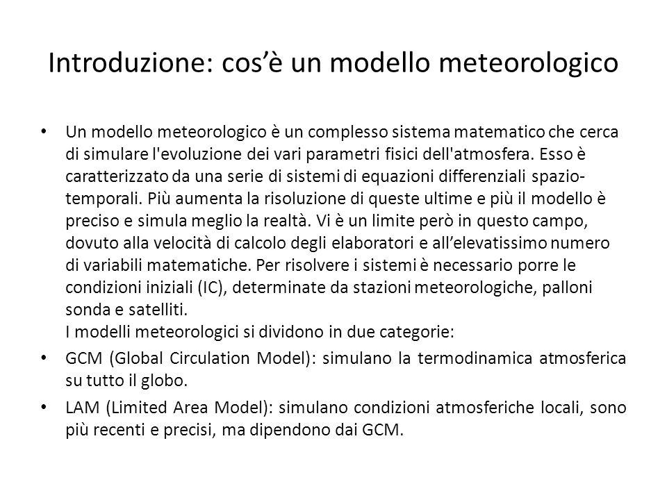 Introduzione: cosè un modello meteorologico Un modello meteorologico è un complesso sistema matematico che cerca di simulare l evoluzione dei vari parametri fisici dell atmosfera.