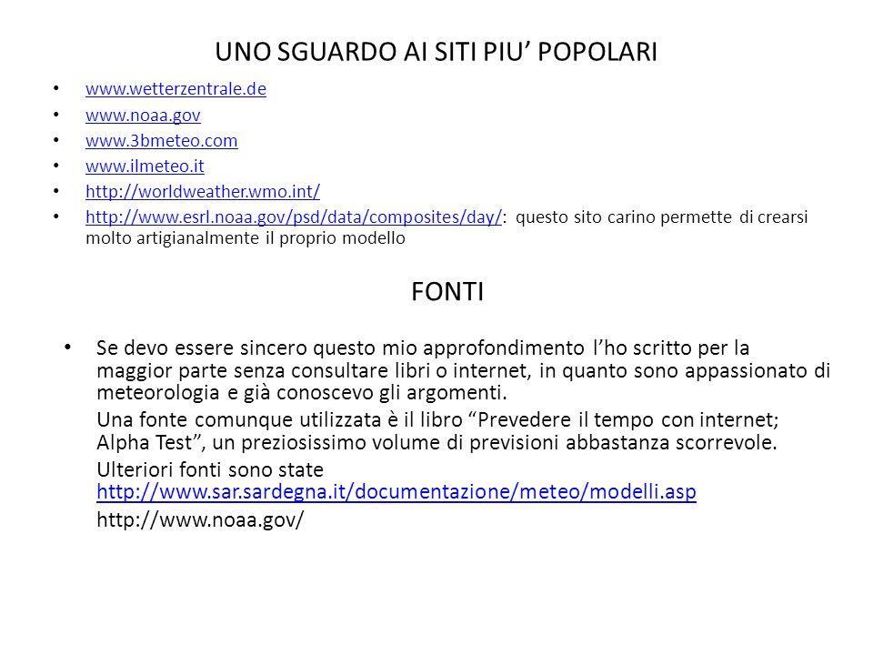 UNO SGUARDO AI SITI PIU POPOLARI www.wetterzentrale.de www.noaa.gov www.3bmeteo.com www.ilmeteo.it http://worldweather.wmo.int/ http://www.esrl.noaa.gov/psd/data/composites/day/: questo sito carino permette di crearsi molto artigianalmente il proprio modello http://www.esrl.noaa.gov/psd/data/composites/day/ FONTI Se devo essere sincero questo mio approfondimento lho scritto per la maggior parte senza consultare libri o internet, in quanto sono appassionato di meteorologia e già conoscevo gli argomenti.