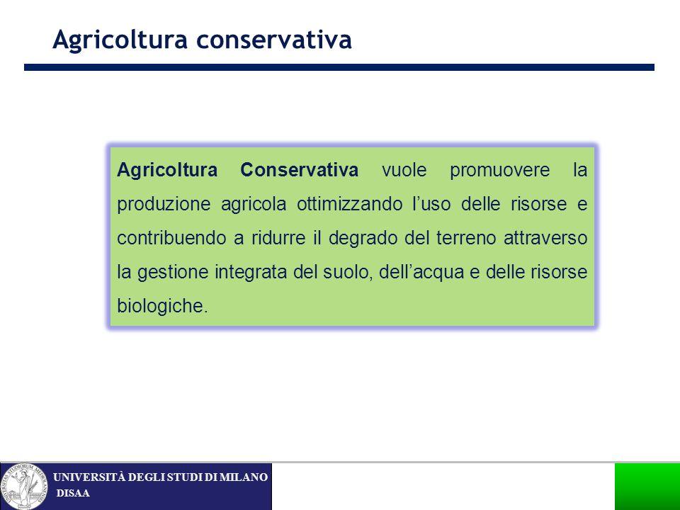 DISAA UNIVERSITÀ DEGLI STUDI DI MILANO Agricoltura conservativa nel mondo… Canada 13,5 USA 26,5 Argentina 25,8 Totale diffusione mondiale: 116,9 milioni di ha (Derpsch, R.