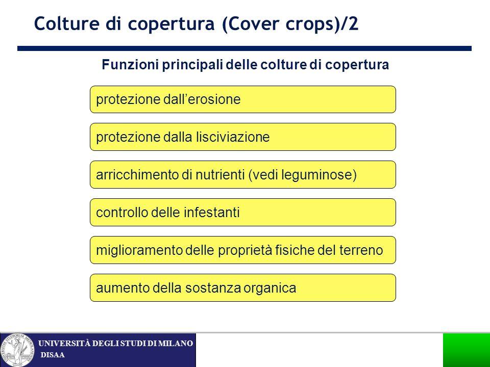 DISAA UNIVERSITÀ DEGLI STUDI DI MILANO Funzioni principali delle colture di copertura Colture di copertura (Cover crops)/2 aumento della sostanza orga