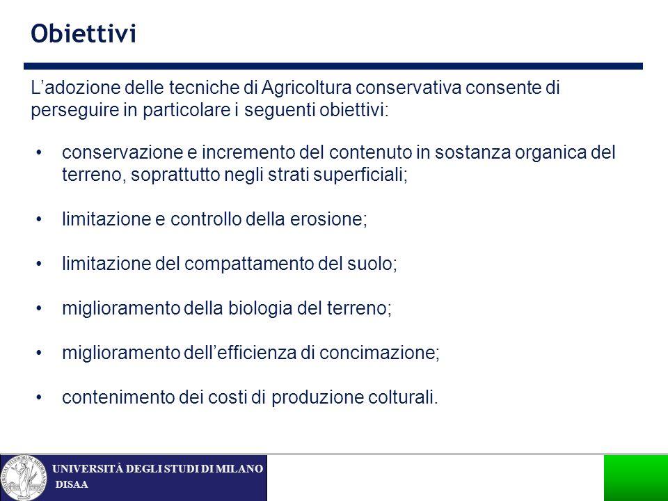 DISAA UNIVERSITÀ DEGLI STUDI DI MILANO Obiettivi conservazione e incremento del contenuto in sostanza organica del terreno, soprattutto negli strati s
