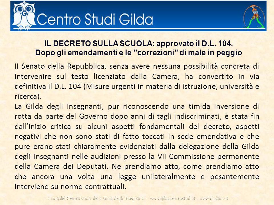 IL DECRETO SULLA SCUOLA: approvato il D.L. 104.