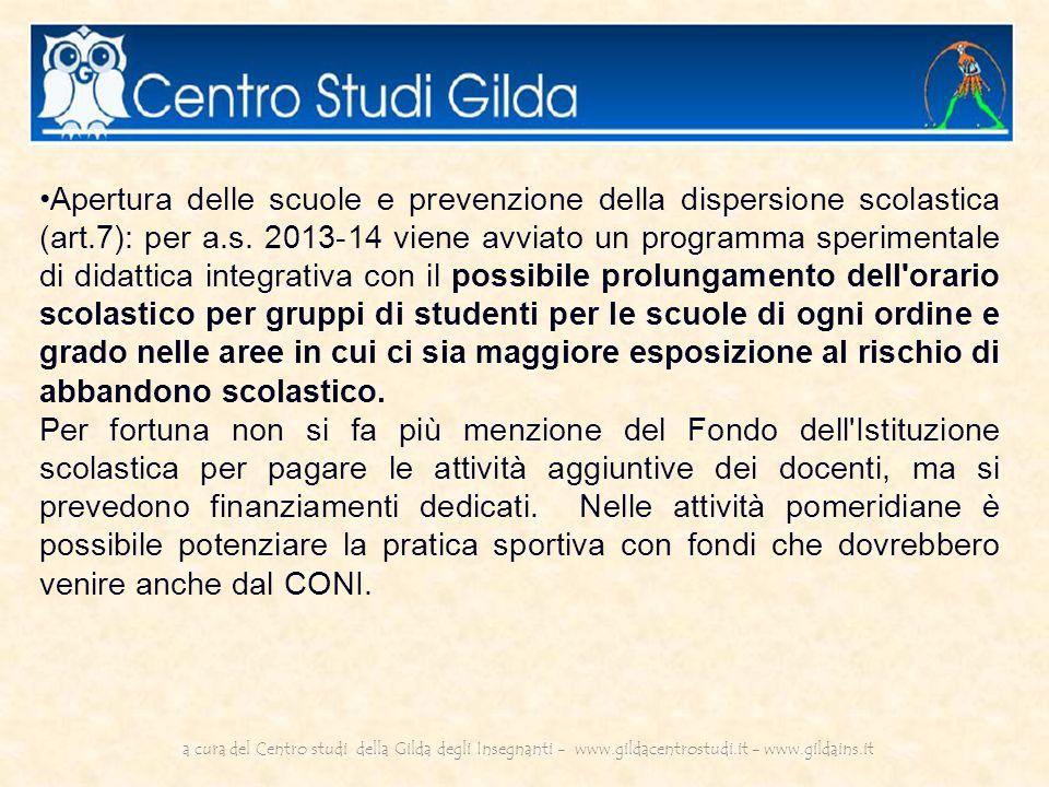 Apertura delle scuole e prevenzione della dispersione scolastica (art.7): per a.s.