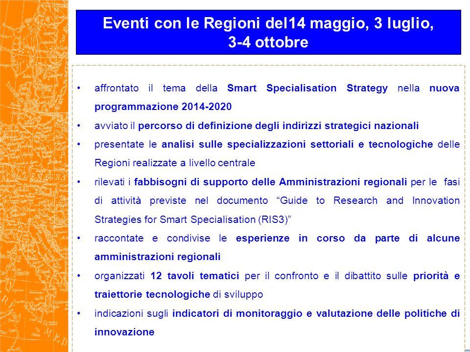 affrontato il tema della Smart Specialisation Strategy nella nuova programmazione 2014-2020 avviato il percorso di definizione degli indirizzi strateg