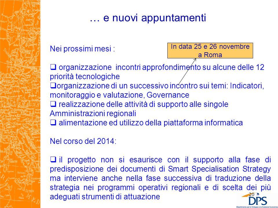 … e nuovi appuntamenti 20 Nei prossimi mesi : organizzazione incontri approfondimento su alcune delle 12 priorità tecnologiche organizzazione di un su