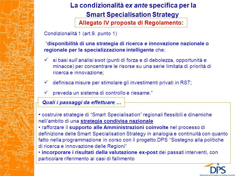 La condizionalità ex ante specifica per la Smart Specialisation Strategy Condizionalità 1 (art.9. punto 1) disponibilità di una strategia di ricerca e