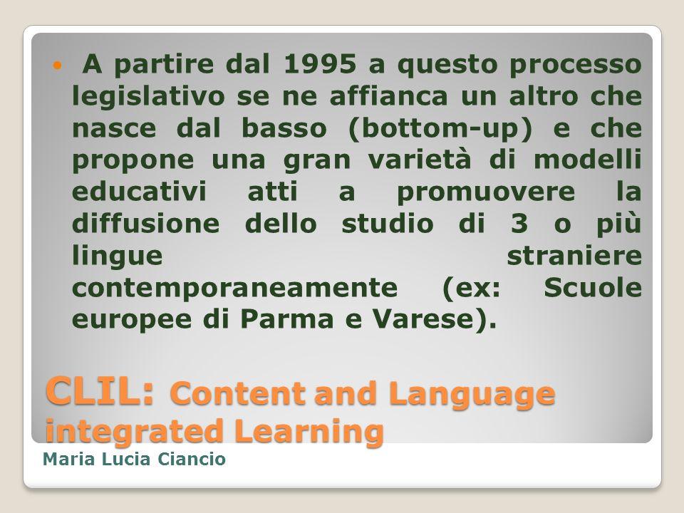 CLIL: Content and Language integrated Learning Numerosi sono gli studi pubblicati sul tema: Baker:1996, Cummins:1996, Marsh:1997, Cenoz, Genesee:1998, Balboni: 1999, Masih:1999, Ricci Garotti:1999,2000, Swain: 2001.