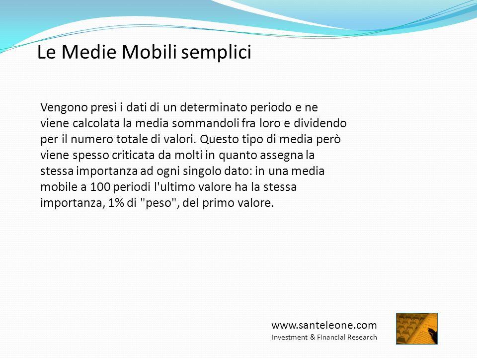 www.santeleone.com Investment & Financial Research Le Medie Mobili esponenziali Questa media mobile viene generata da un sistema di calcolo molto più complesso che cerca sempre di eliminare le carenze della media mobile semplice.