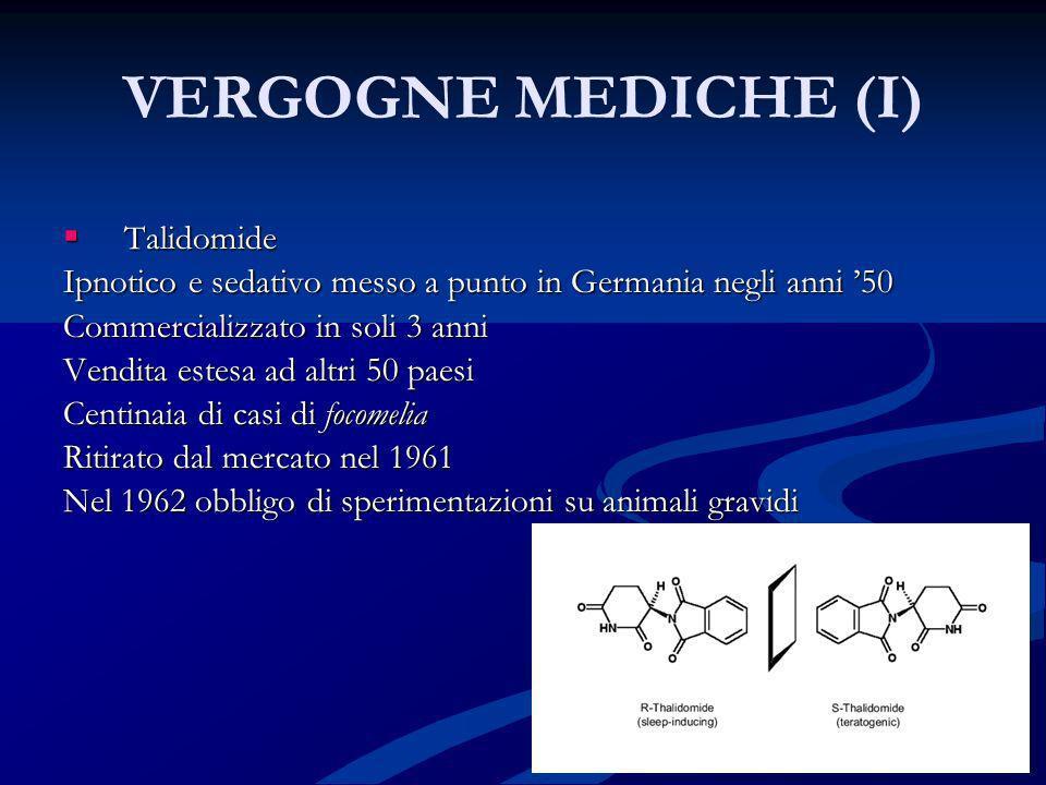 VERGOGNE MEDICHE (I) Talidomide Talidomide Ipnotico e sedativo messo a punto in Germania negli anni 50 Commercializzato in soli 3 anni Vendita estesa