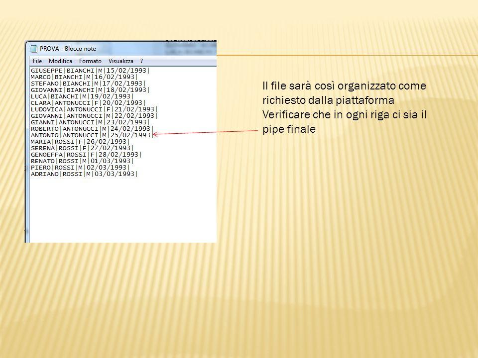 Il file sarà così organizzato come richiesto dalla piattaforma Verificare che in ogni riga ci sia il pipe finale