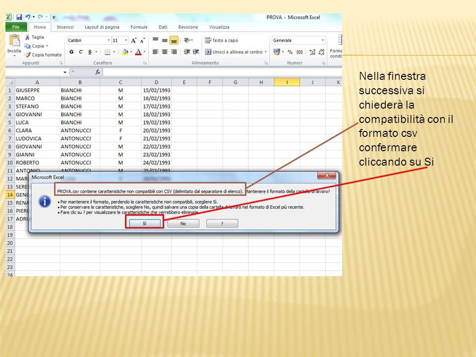 Quindi aprire il menù File e salvare il file CSV direttamente da Blocco note