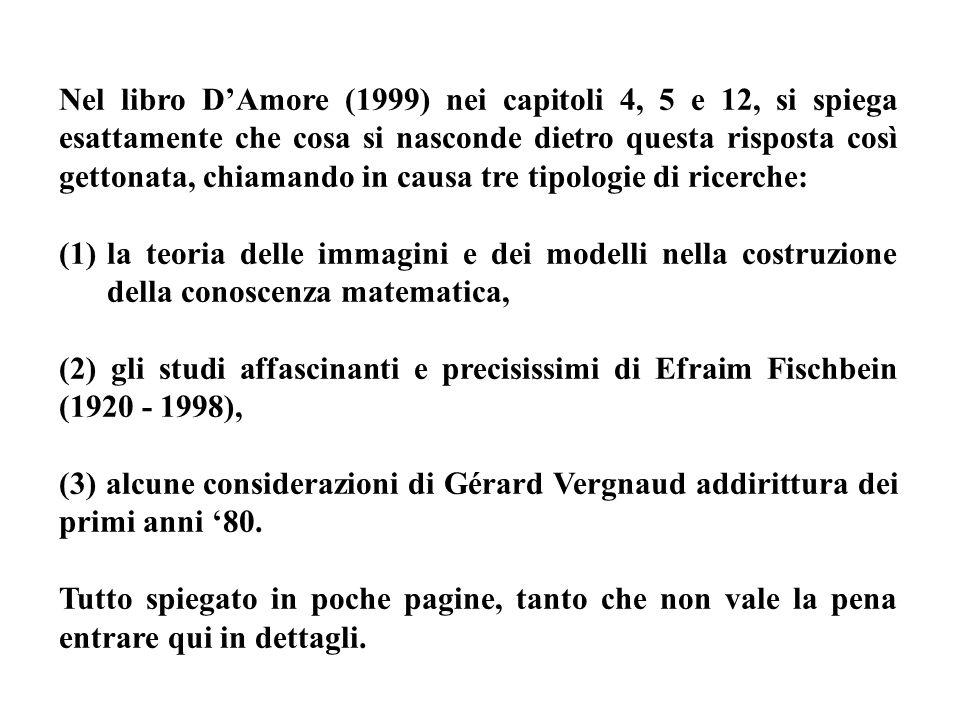 Nel libro DAmore (1999) nei capitoli 4, 5 e 12, si spiega esattamente che cosa si nasconde dietro questa risposta così gettonata, chiamando in causa t