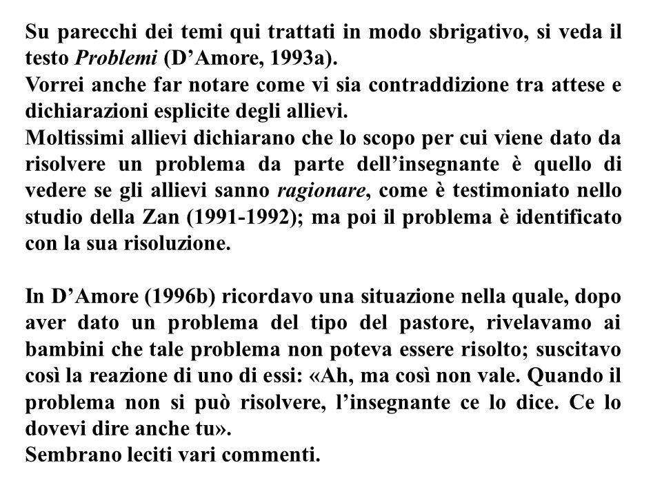 Su parecchi dei temi qui trattati in modo sbrigativo, si veda il testo Problemi (DAmore, 1993a). Vorrei anche far notare come vi sia contraddizione tr