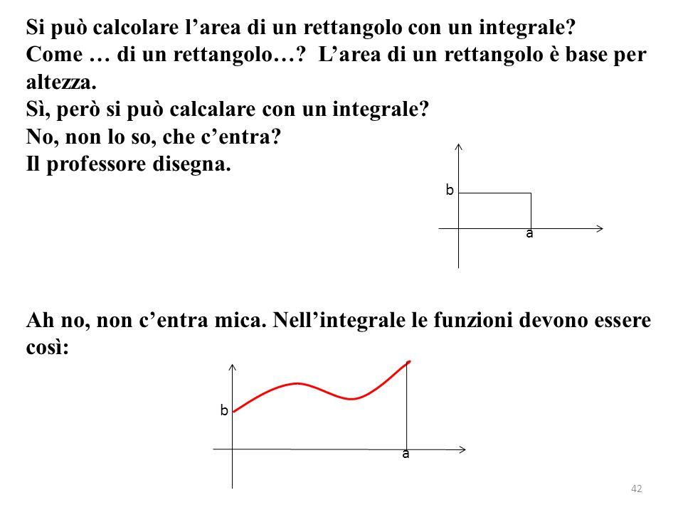 42 Si può calcolare larea di un rettangolo con un integrale? Come … di un rettangolo…? Larea di un rettangolo è base per altezza. Sì, però si può calc