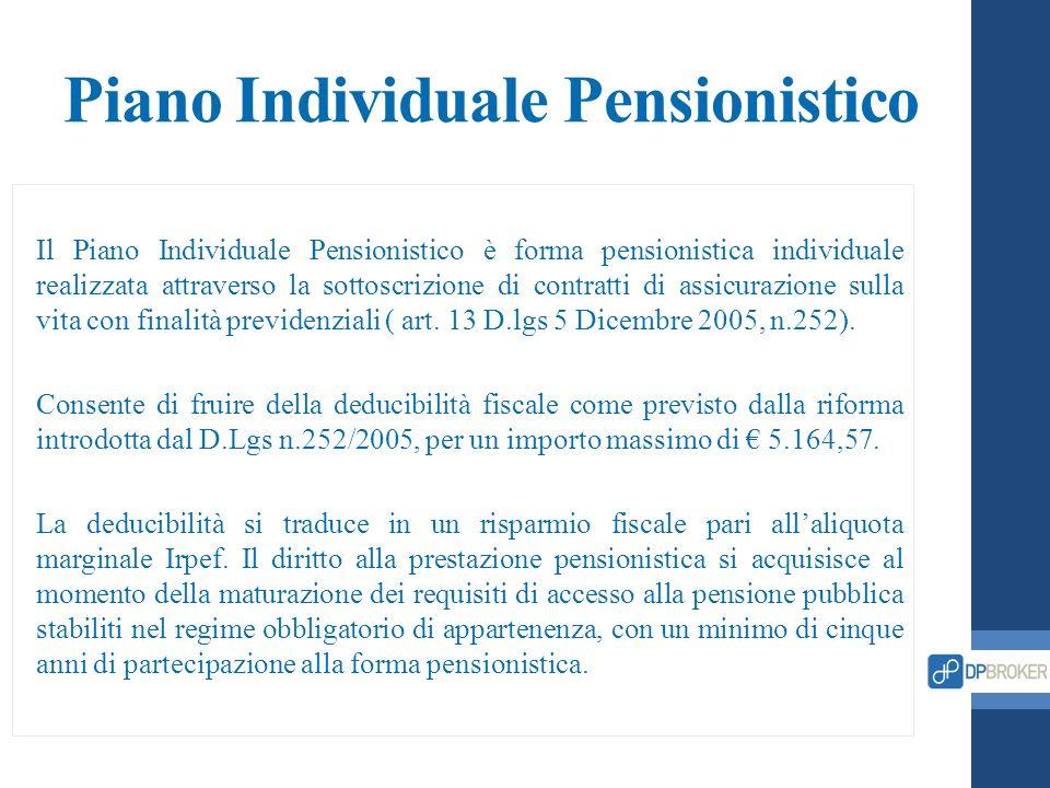 Piano Individuale Pensionistico Il Piano Individuale Pensionistico è forma pensionistica individuale realizzata attraverso la sottoscrizione di contra