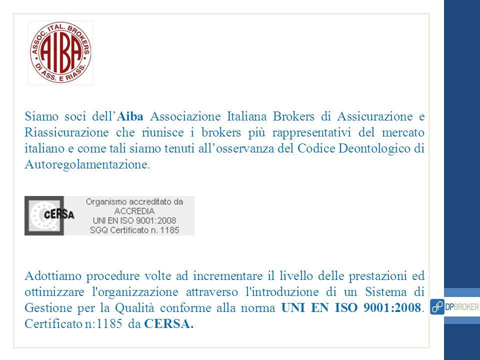 Siamo soci dellAiba Associazione Italiana Brokers di Assicurazione e Riassicurazione che riunisce i brokers più rappresentativi del mercato italiano e