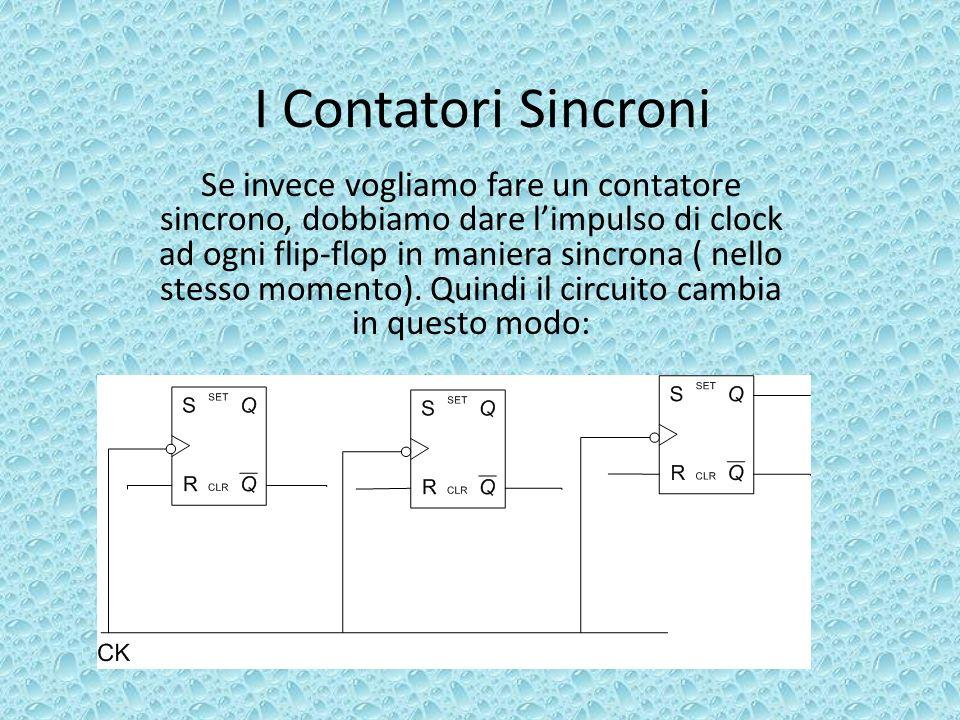 I Contatori Sincroni Se invece vogliamo fare un contatore sincrono, dobbiamo dare limpulso di clock ad ogni flip-flop in maniera sincrona ( nello stes