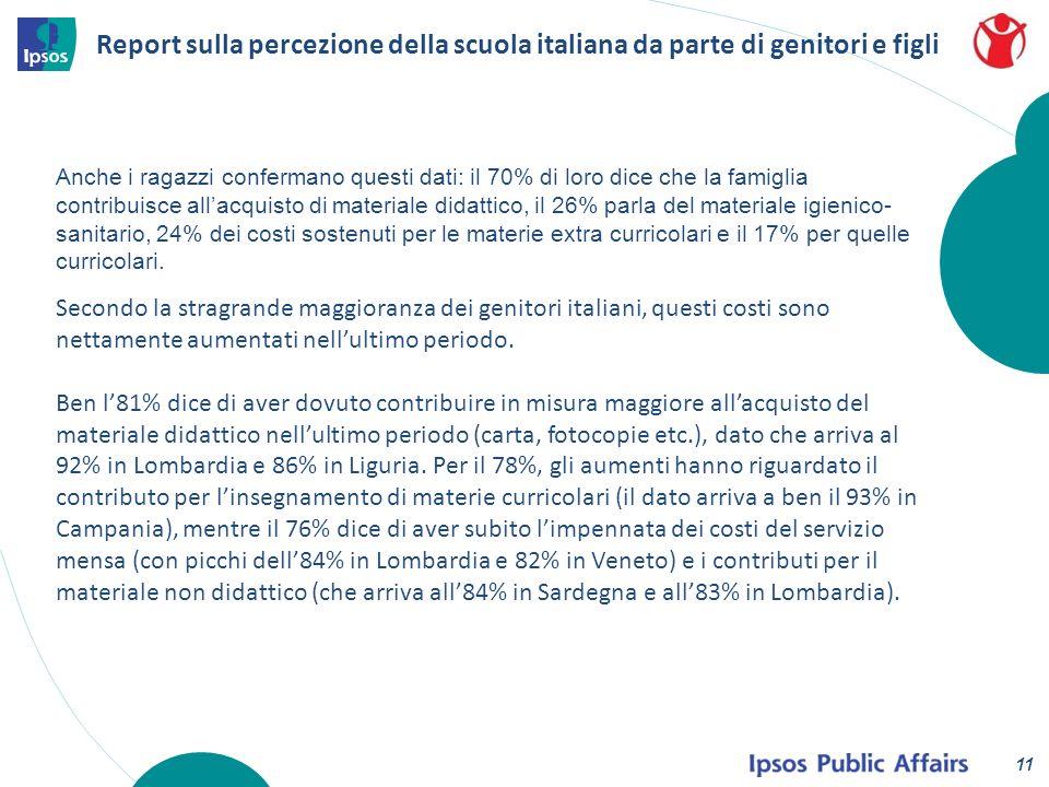 Report sulla percezione della scuola italiana da parte di genitori e figli 11 Anche i ragazzi confermano questi dati: il 70% di loro dice che la famiglia contribuisce allacquisto di materiale didattico, il 26% parla del materiale igienico- sanitario, 24% dei costi sostenuti per le materie extra curricolari e il 17% per quelle curricolari.