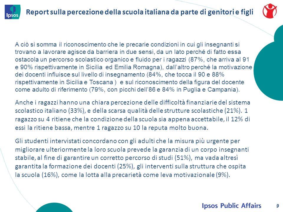 Report sulla percezione della scuola italiana da parte di genitori e figli 10 La famiglia gioca un ruolo chiave nel sostegno economico delle attività scolastiche, provvedendo molto spesso (78% di adulti) allacquisto o al finanziamento dellacquisto di materiali destinati alla didattica, come carta, e fotocopie (valori che salgono all86% in Puglia e Piemonte e all81% in Toscana e Emilia, ma anche di altre necessità di carattere più generale (tipicamente, la carta igienica – 51% tra i genitori, che arriva al 61% in Puglia e 60% in Piemonte).