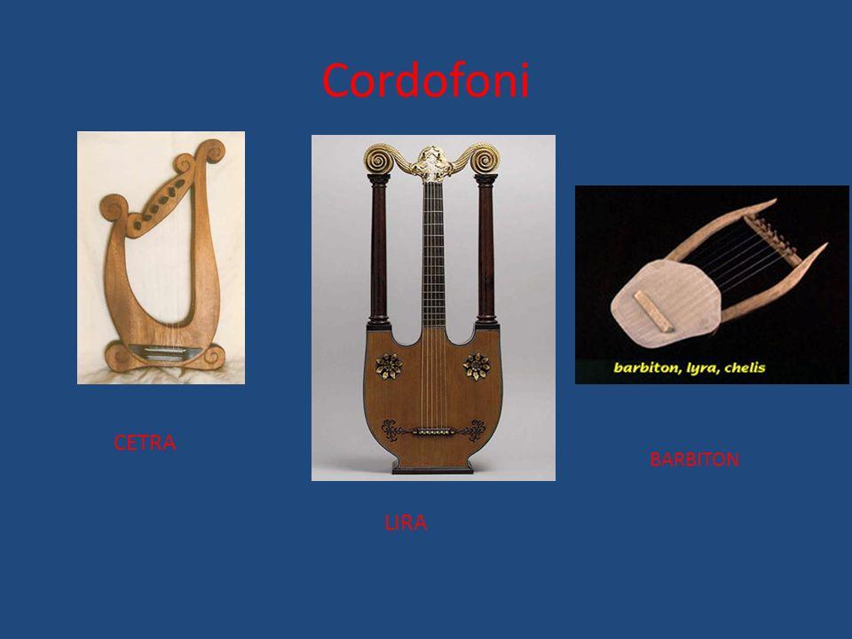 Gli strumenti (Τα ργανα) Gli strumenti greci si dividevano in tre famiglie: -Cordofoni -Vibrafoni -A erofoni