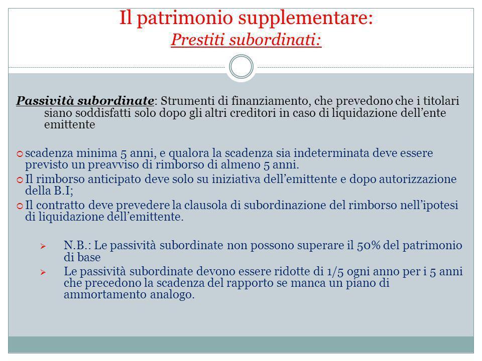 Passività subordinate: Strumenti di finanziamento, che prevedono che i titolari siano soddisfatti solo dopo gli altri creditori in caso di liquidazion