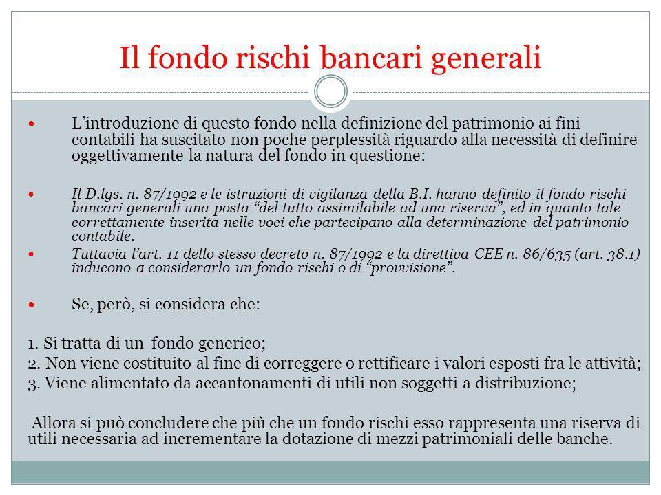 Il fondo rischi bancari generali Lintroduzione di questo fondo nella definizione del patrimonio ai fini contabili ha suscitato non poche perplessità r