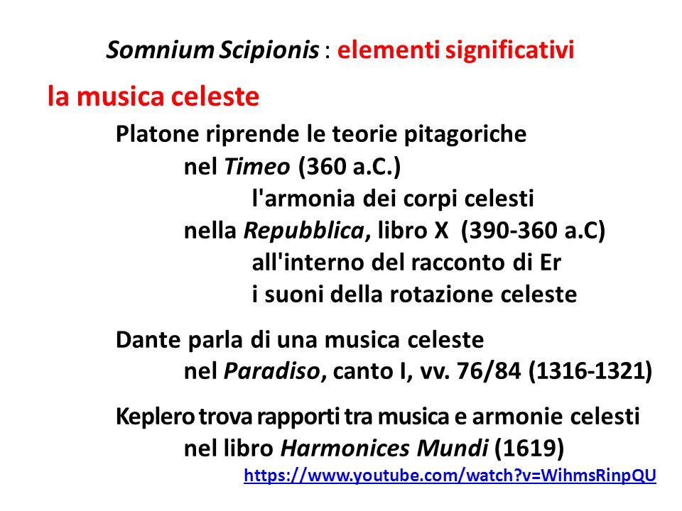 Somnium Scipionis : elementi significativi la musica celeste Platone riprende le teorie pitagoriche nel Timeo (360 a.C.) l'armonia dei corpi celesti n