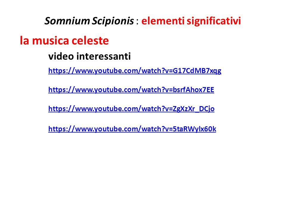 Somnium Scipionis : elementi significativi la musica celeste video interessanti https://www.youtube.com/watch?v=G17CdMB7xqg https://www.youtube.com/wa