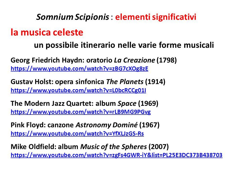 Somnium Scipionis : elementi significativi la musica celeste un possibile itinerario nelle varie forme musicali Georg Friedrich Haydn: oratorio La Cre
