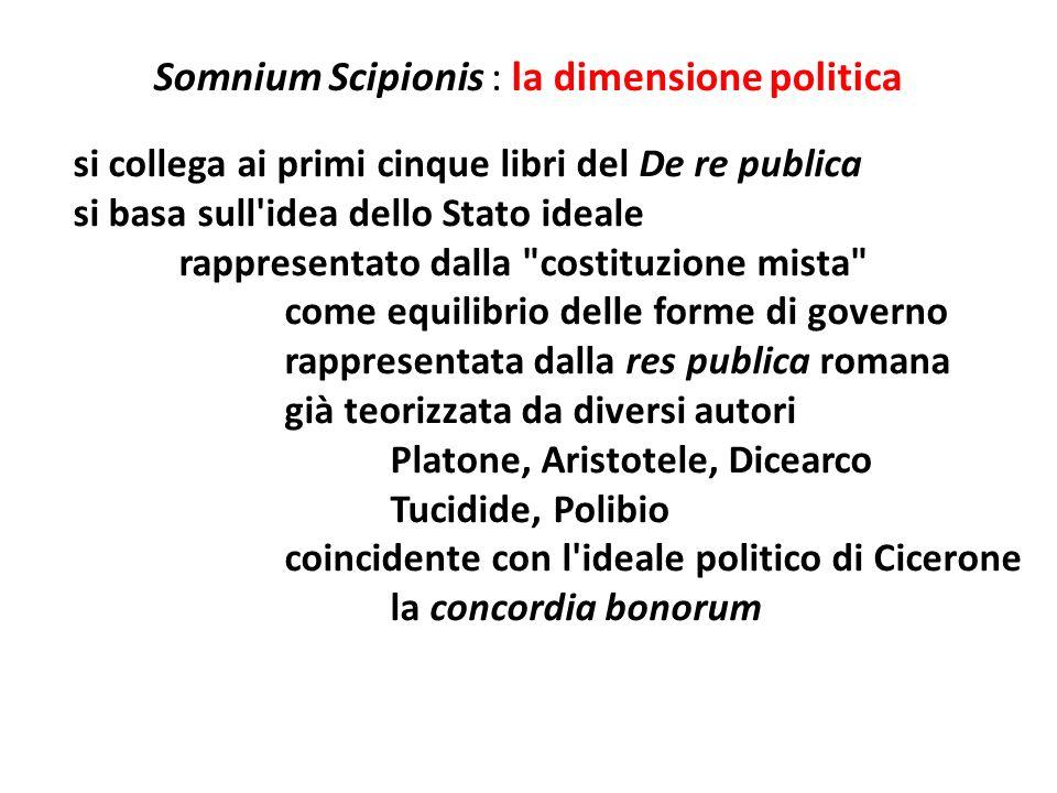 Somnium Scipionis : la dimensione politica si collega ai primi cinque libri del De re publica si basa sull'idea dello Stato ideale rappresentato dalla