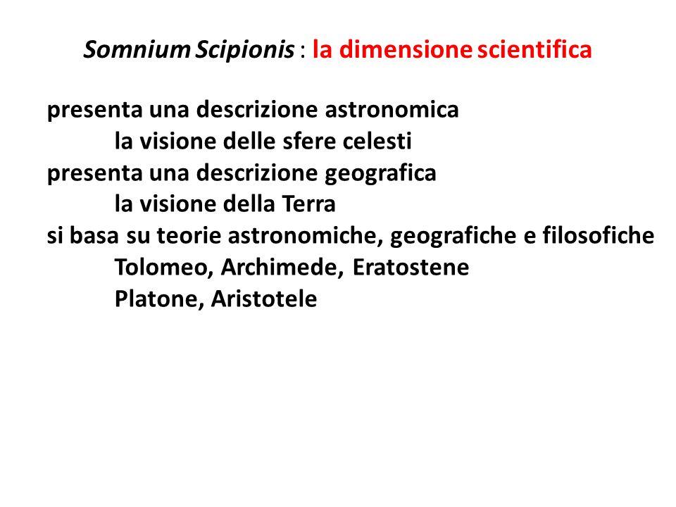 Somnium Scipionis : la dimensione scientifica presenta una descrizione astronomica la visione delle sfere celesti presenta una descrizione geografica