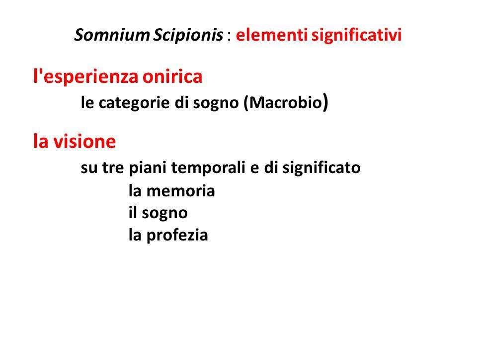Somnium Scipionis : elementi significativi l elemento del tempo il tempo personale la vita di Scipione Emiliano le relazioni di parentela il tempo storico le vicende di Roma la memoria delle imprese compiute il tempo cosmico la creazione l universo e gli astri l extratempo la dimensione del sogno l eternità