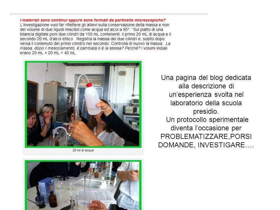 Una pagina del blog dedicata alla descrizione di unesperienza svolta nel laboratorio della scuola presidio.
